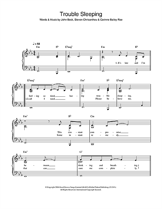 Corinne Bailey Rae Trouble Sleeping sheet music notes and chords