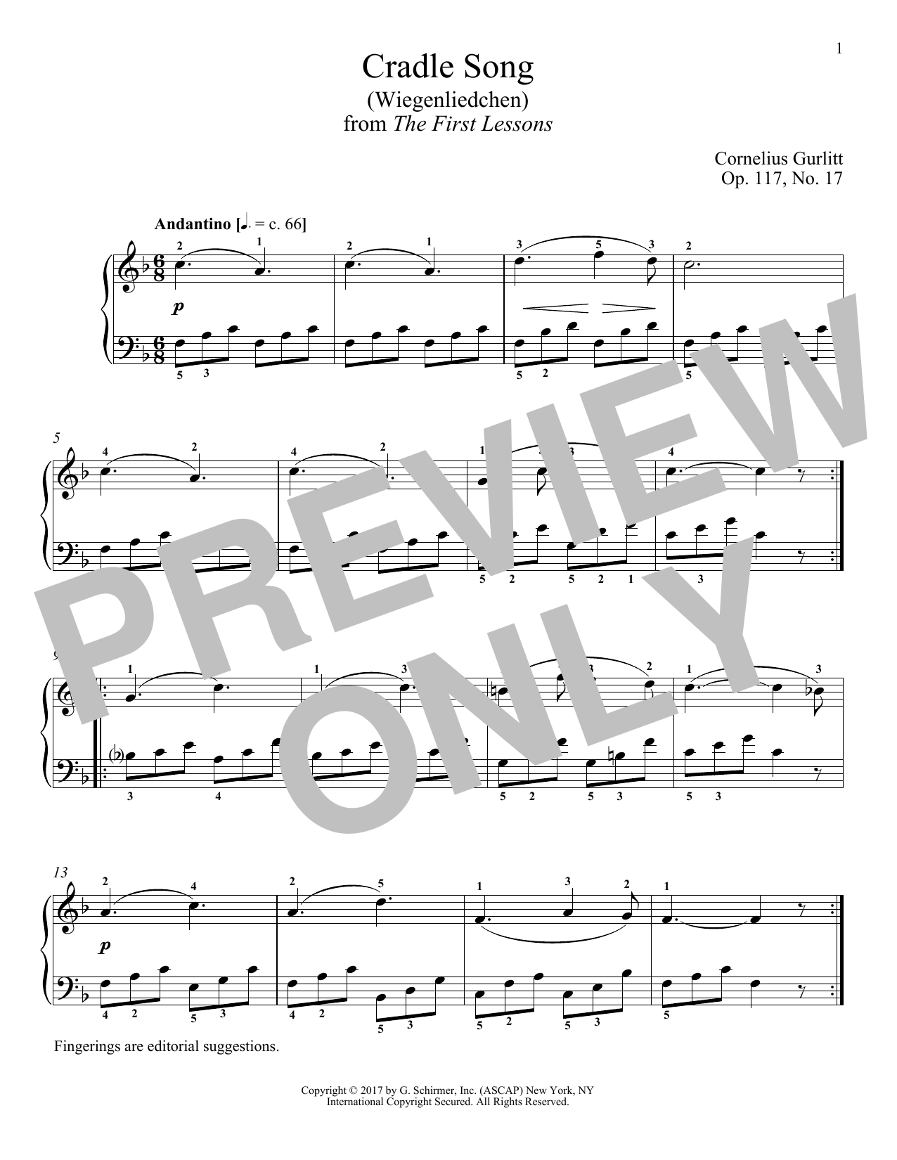 Cornelius Gurlitt Cradle Song (Wiegenliedchen), Op. 117, No. 17 sheet music notes and chords