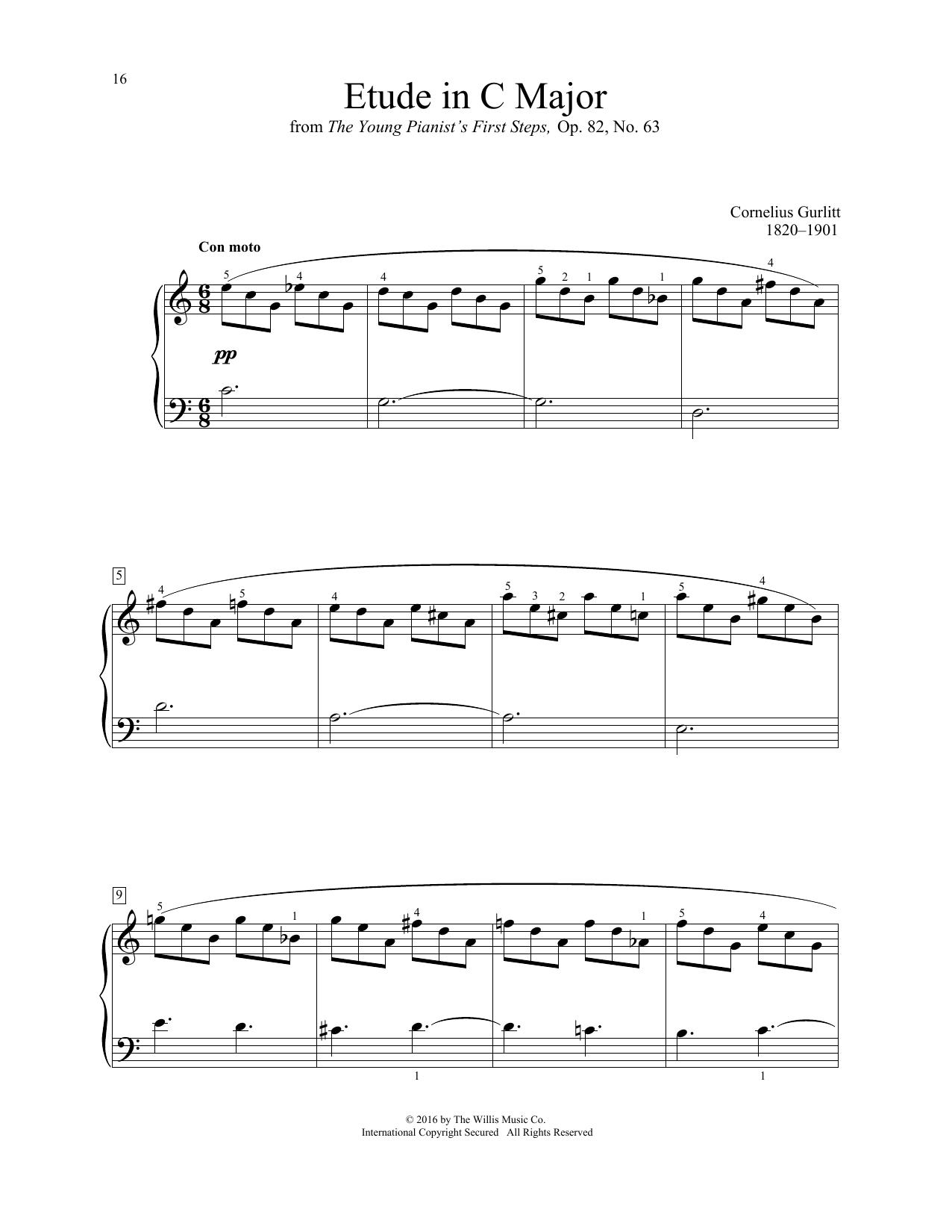 Cornelius Gurlitt Etude In C Major sheet music notes and chords. Download Printable PDF.