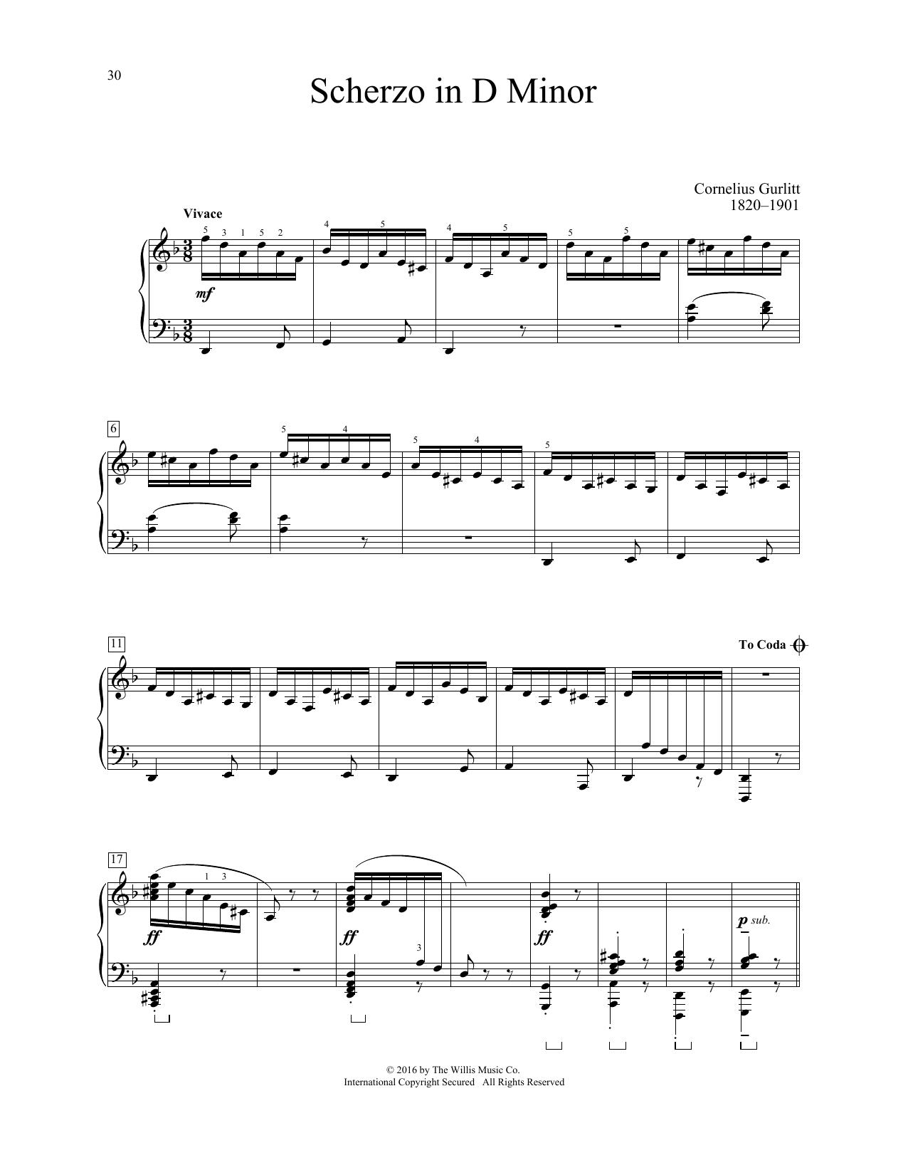 Cornelius Gurlitt Scherzo In D Minor sheet music notes and chords. Download Printable PDF.