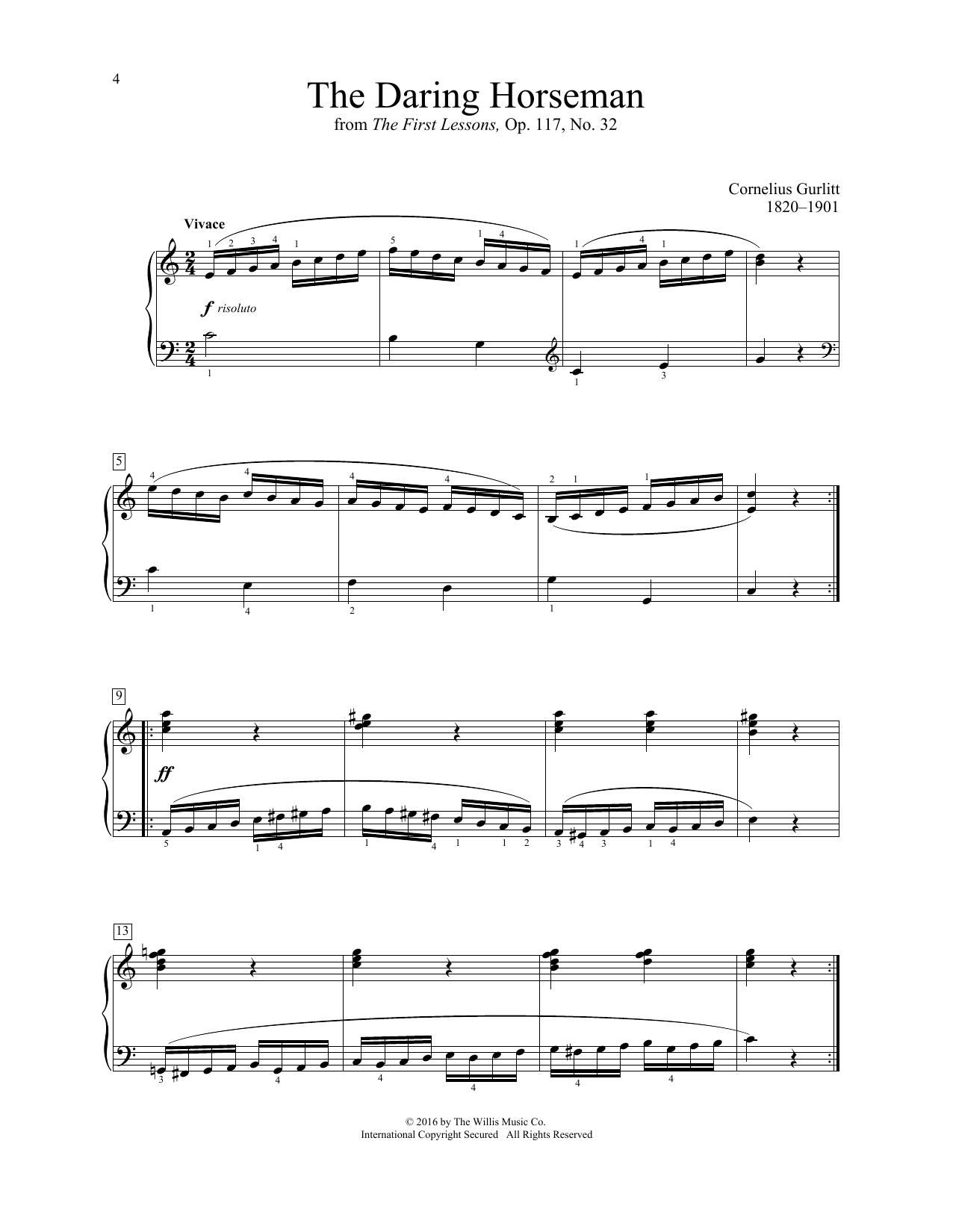 Cornelius Gurlitt The Daring Horseman sheet music notes and chords. Download Printable PDF.