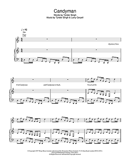 Cornershop Candyman sheet music notes and chords