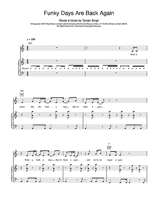 Cornershop Funky Days Are Back Again sheet music notes and chords