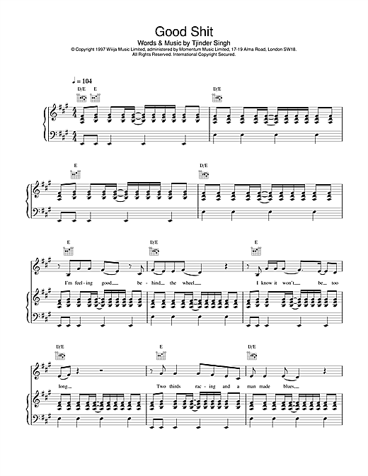 Cornershop Good Shit sheet music notes and chords. Download Printable PDF.