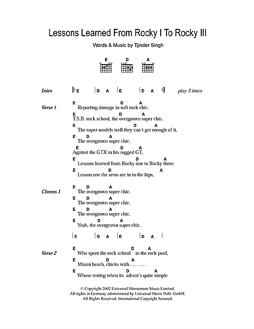Cornershop Lessons Learned From Rocky I To Rocky III sheet music notes and chords. Download Printable PDF.