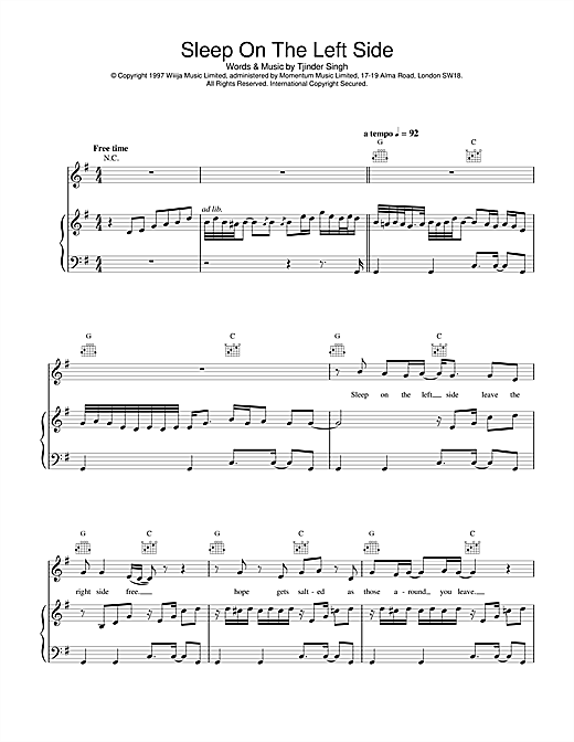 Cornershop Sleep On The Left Side sheet music notes and chords. Download Printable PDF.