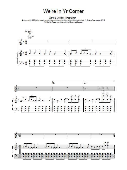 Cornershop We're In Yr Corner sheet music notes and chords. Download Printable PDF.