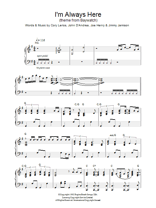 Jimi Jamison I'm Always Here (theme from Baywatch) sheet music notes and chords. Download Printable PDF.