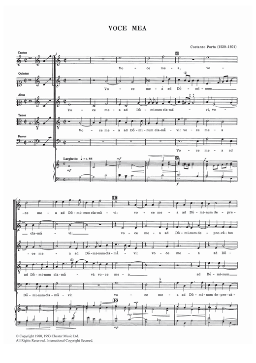 Costanzo Porta Voce Mea sheet music notes and chords. Download Printable PDF.