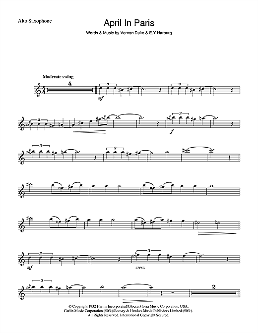 Count Basie April In Paris sheet music notes and chords. Download Printable PDF.