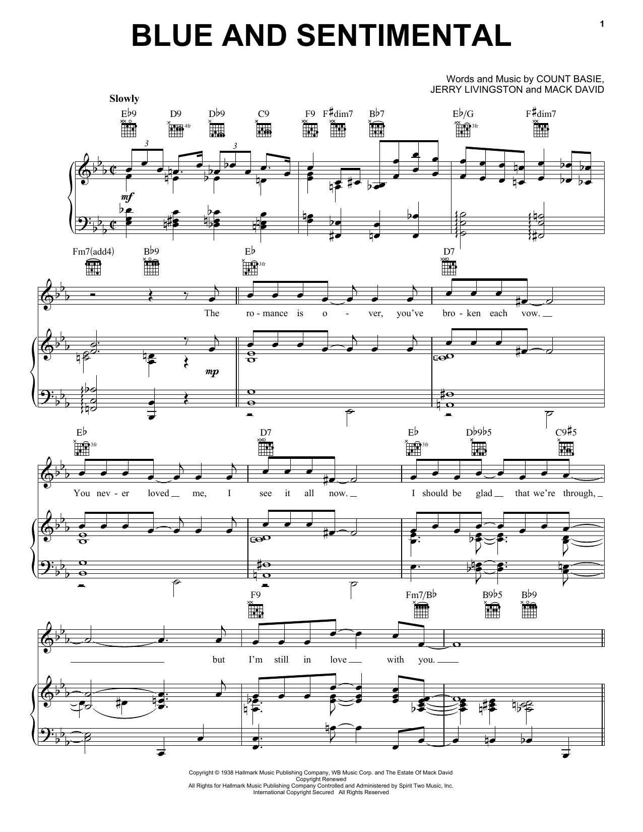 Count Basie Blue And Sentimental sheet music notes and chords. Download Printable PDF.