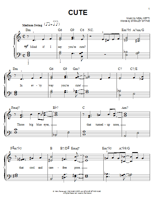 Count Basie Cute sheet music notes and chords. Download Printable PDF.