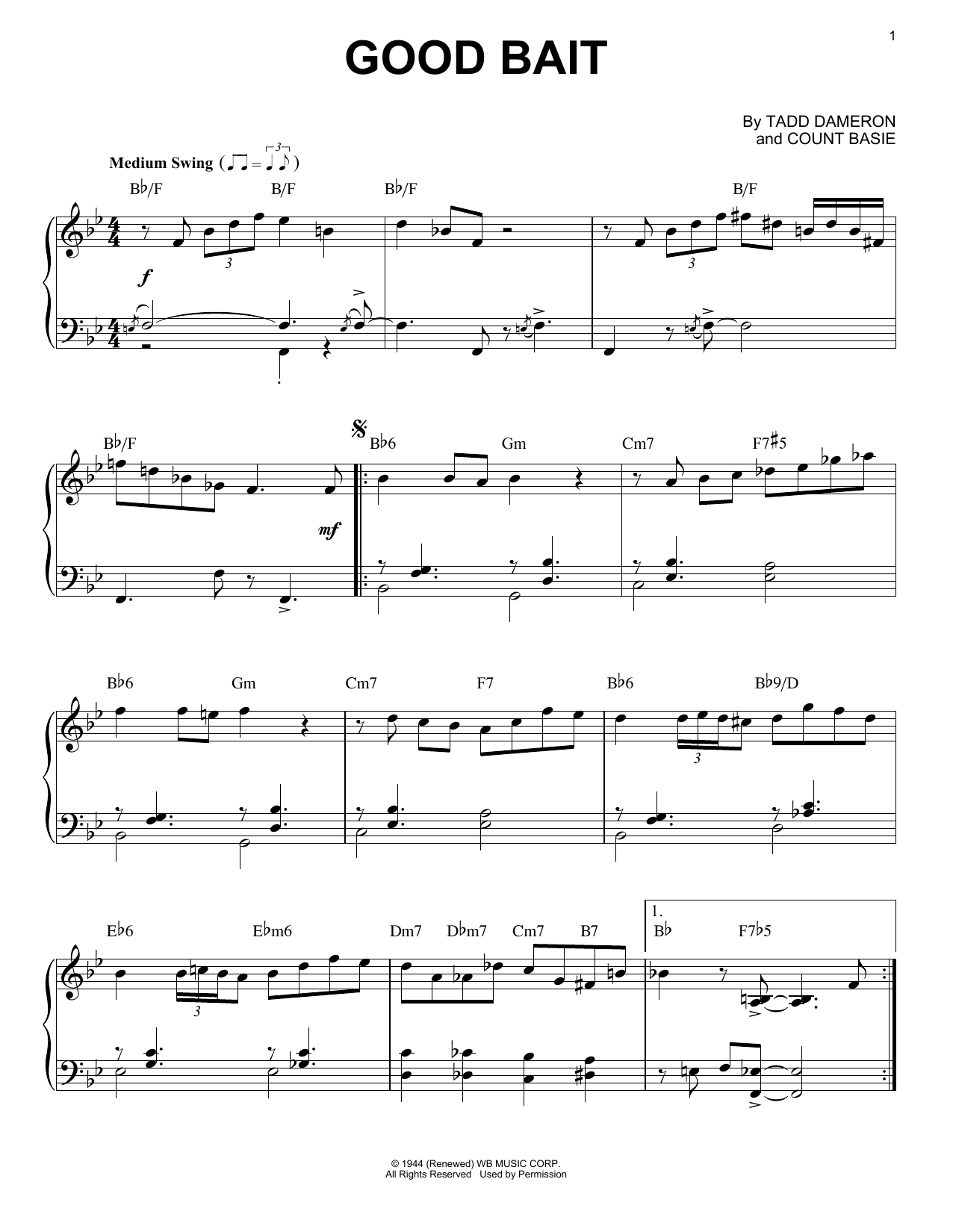Count Basie Good Bait sheet music notes and chords. Download Printable PDF.