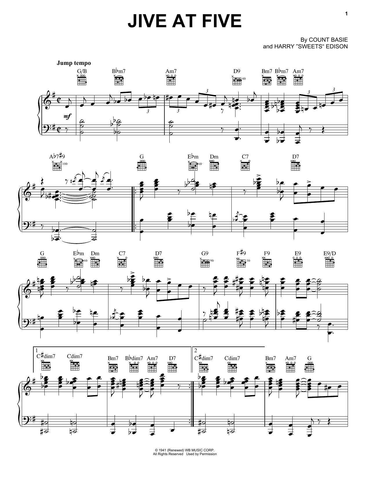 Count Basie Jive At Five sheet music notes and chords. Download Printable PDF.