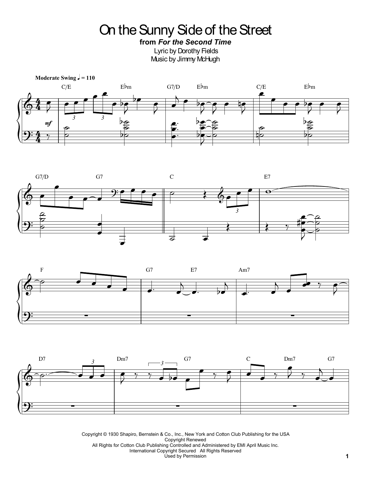 Count Basie On The Sunny Side Of The Street sheet music notes and chords