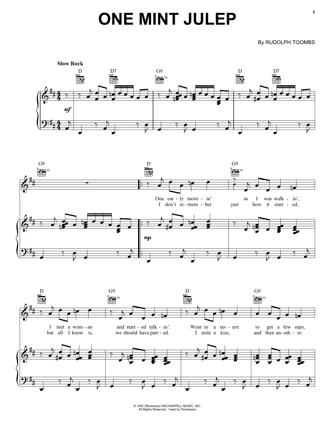 Count Basie One Mint Julep sheet music notes and chords. Download Printable PDF.