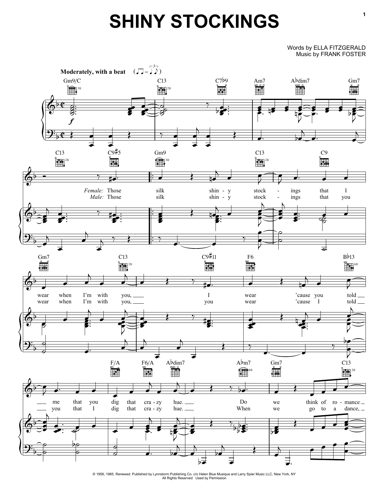 Count Basie Shiny Stockings sheet music notes and chords. Download Printable PDF.