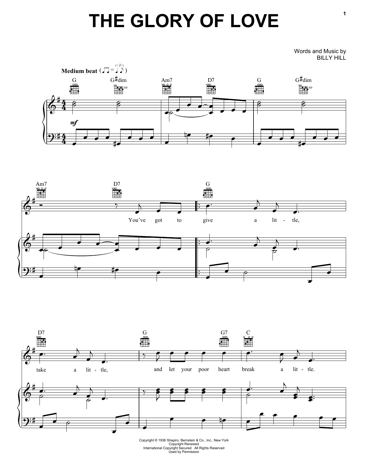 Count Basie The Glory Of Love sheet music notes and chords