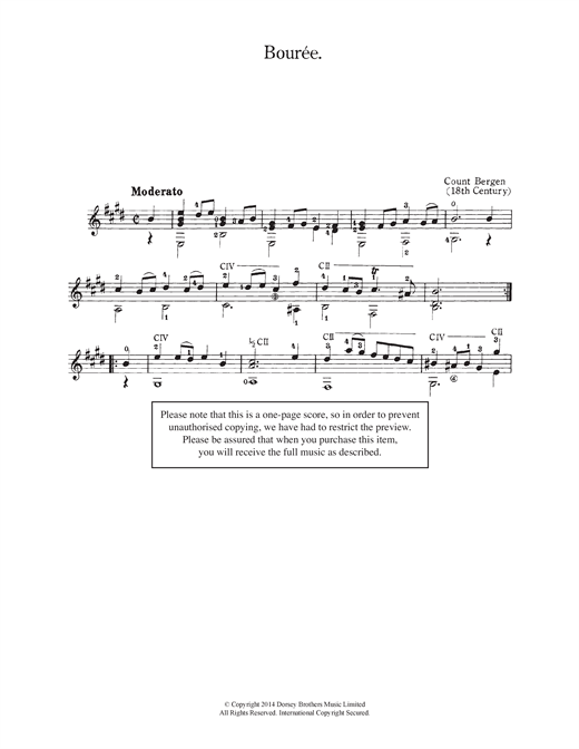 Count Bergen Bouree sheet music notes and chords. Download Printable PDF.