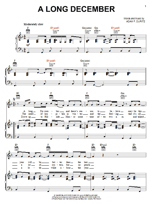 Counting Crows A Long December sheet music notes and chords