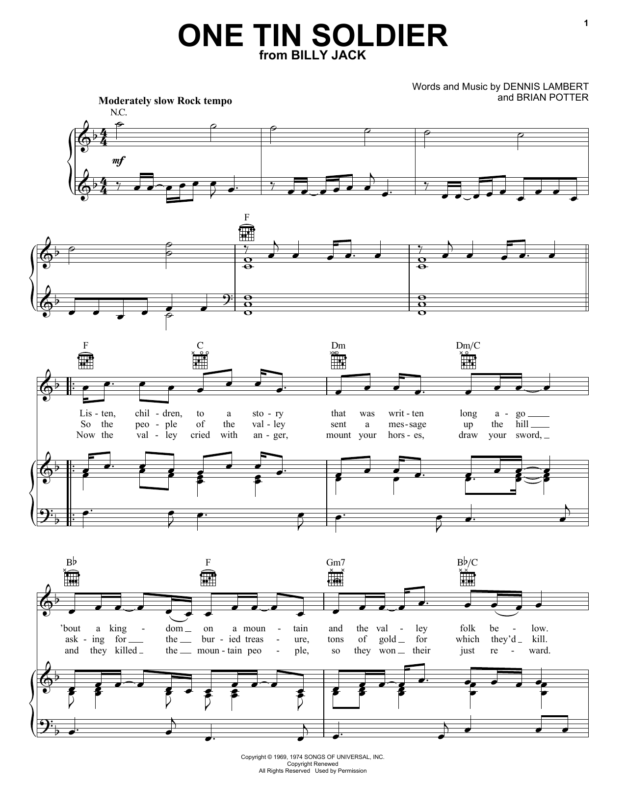 Coven One Tin Soldier sheet music notes and chords. Download Printable PDF.