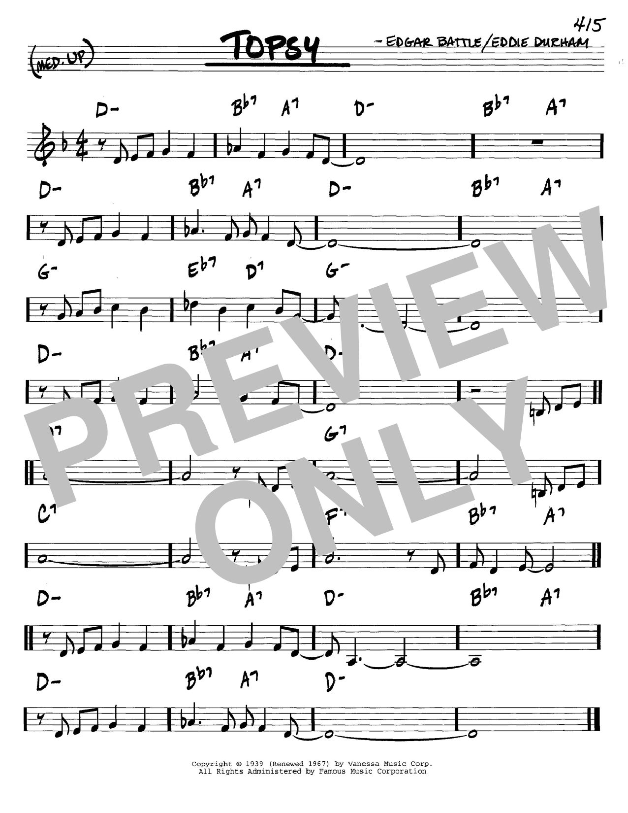 Cozy Cole Topsy sheet music notes and chords. Download Printable PDF.