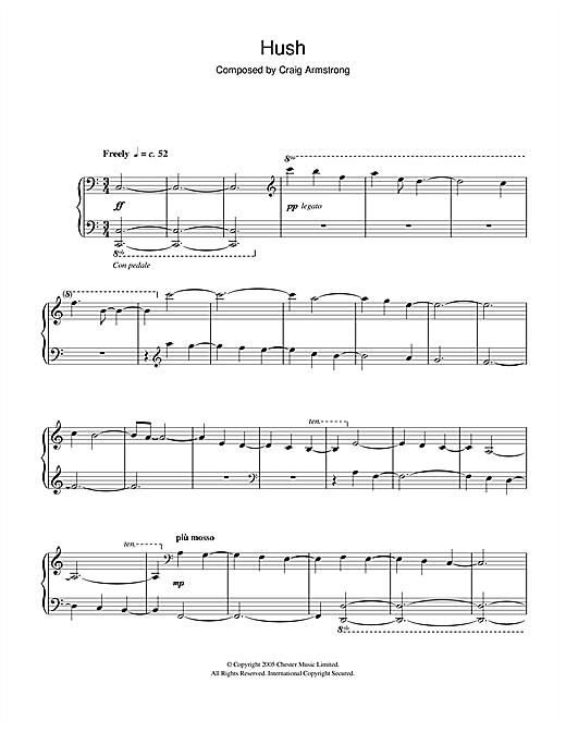 Craig Armstrong Hush sheet music notes and chords