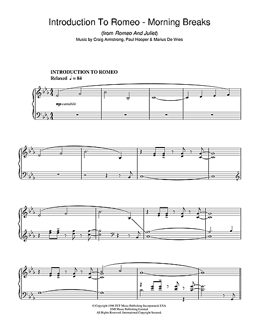 Craig Armstrong Introduction To Romeo - Morning Breaks (from Romeo And Juliet) sheet music notes and chords. Download Printable PDF.