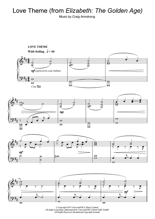 Craig Armstrong Love Theme (from Elizabeth: The Golden Age) sheet music notes and chords. Download Printable PDF.