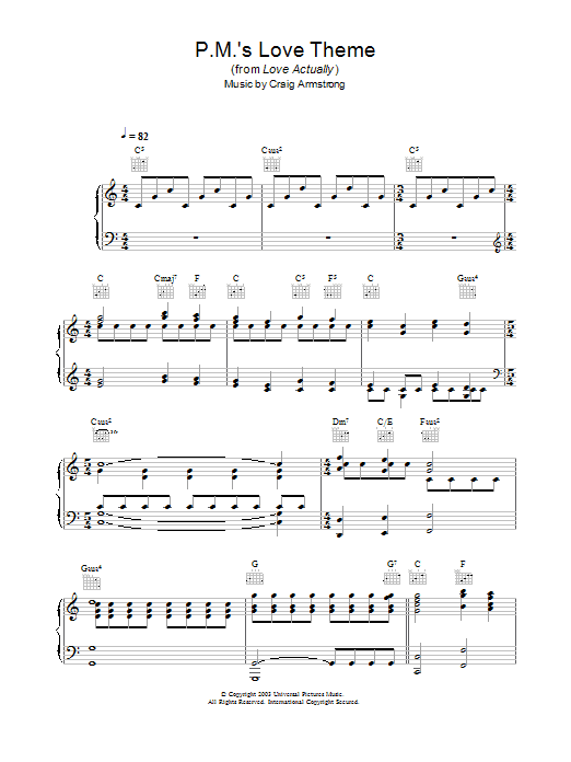 Craig Armstrong P.M.'s Love Theme (from Love Actually) sheet music notes and chords. Download Printable PDF.