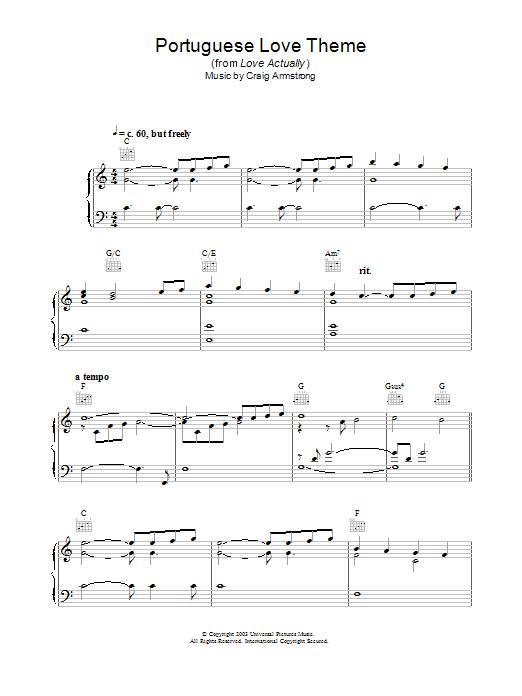 Craig Armstrong Portuguese Love Theme (from Love Actually) sheet music notes and chords. Download Printable PDF.