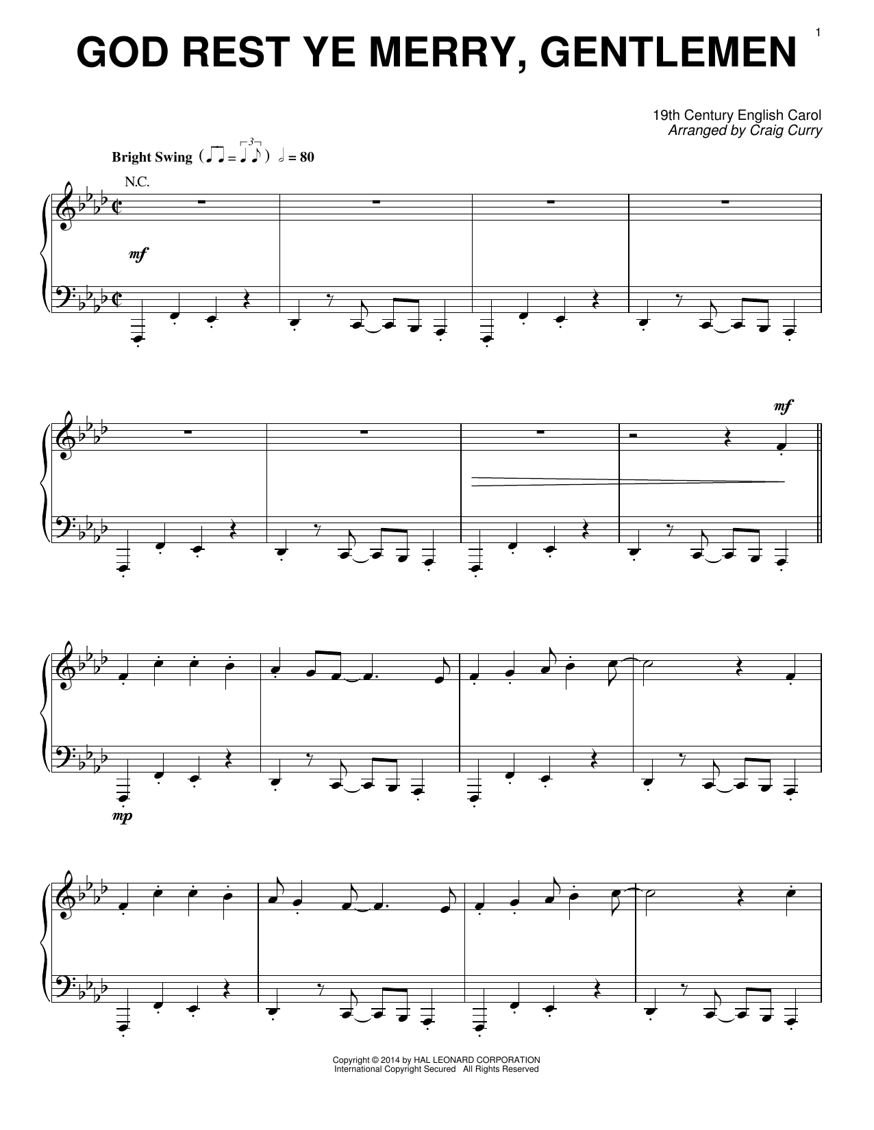 Craig Curry God Rest Ye Merry, Gentlemen sheet music notes and chords. Download Printable PDF.