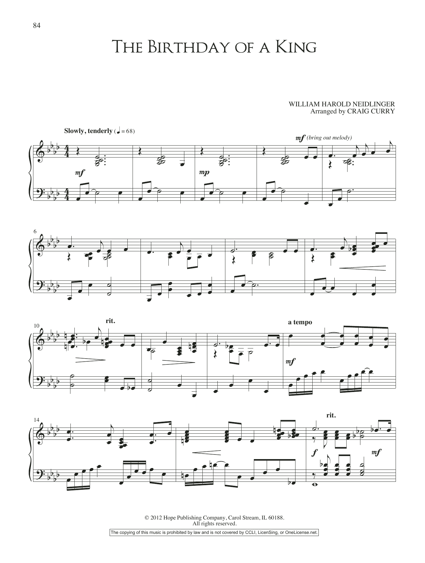 Craig Curry The Birthday of a King sheet music notes and chords. Download Printable PDF.