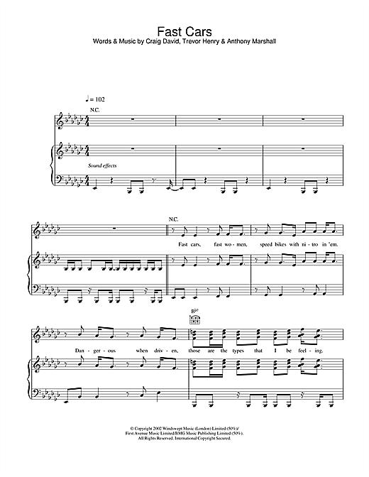 Craig David Fast Cars sheet music notes and chords. Download Printable PDF.