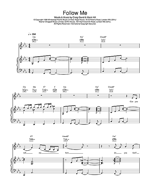 Craig David Follow Me sheet music notes and chords