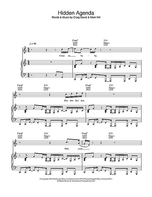 Craig David Hidden Agenda sheet music notes and chords