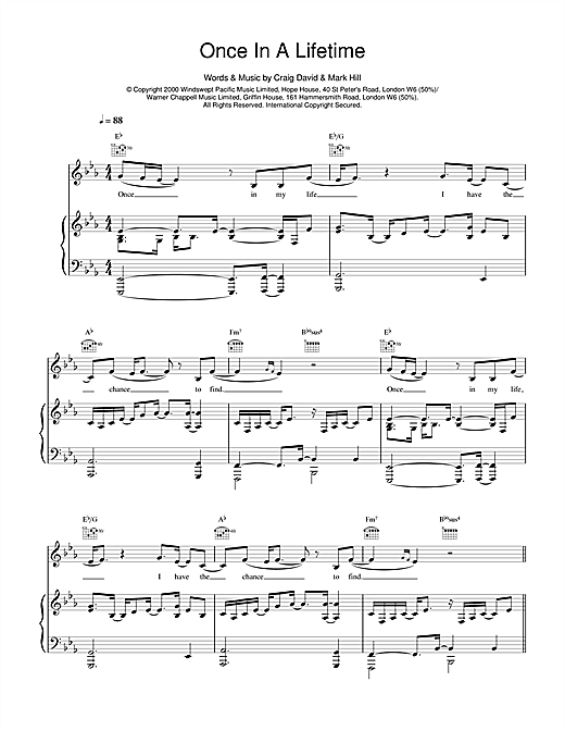 Craig David Once In A Lifetime sheet music notes and chords. Download Printable PDF.