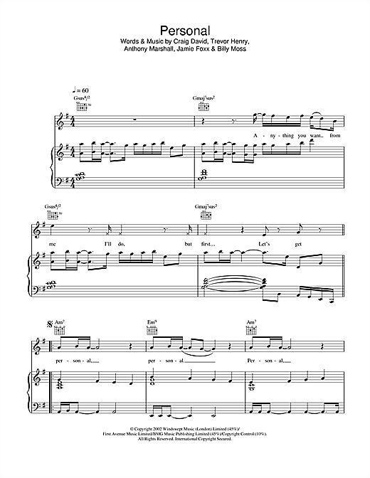 Craig David Personal sheet music notes and chords. Download Printable PDF.
