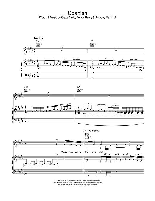 Craig David Spanish sheet music notes and chords. Download Printable PDF.