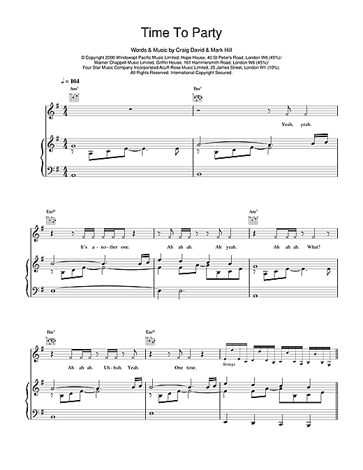Craig David Time To Party sheet music notes and chords