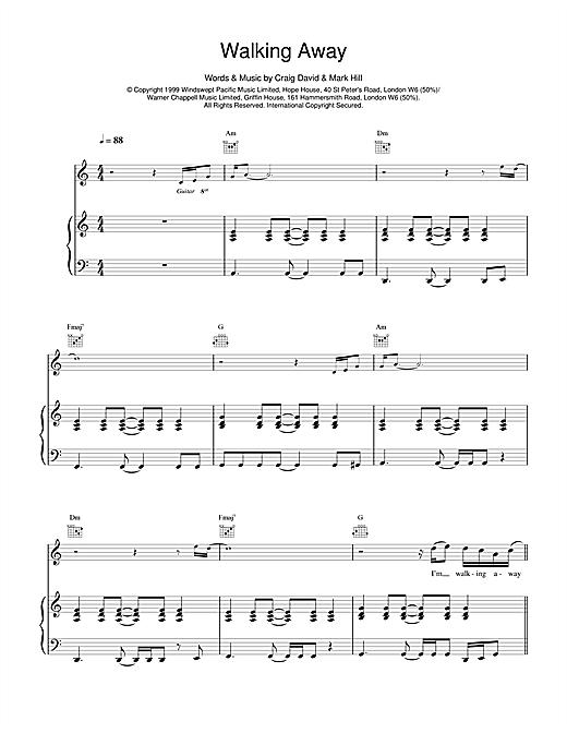 Craig David Walking Away sheet music notes and chords. Download Printable PDF.