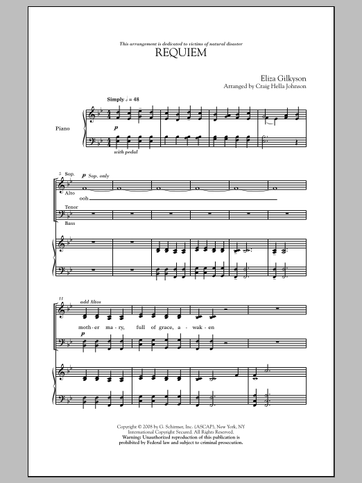 Craig Hella Johnson Requiem sheet music notes and chords. Download Printable PDF.