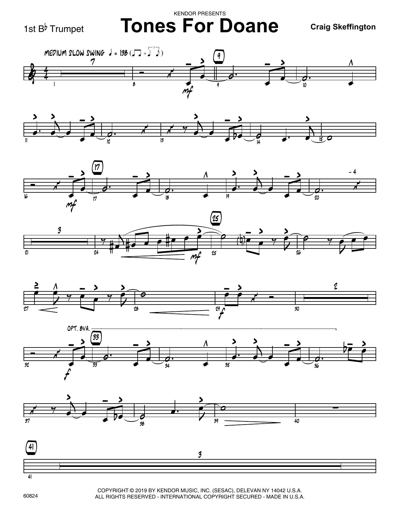 Craig Skeffington Tones For Doane - 1st Bb Trumpet sheet music notes and chords. Download Printable PDF.