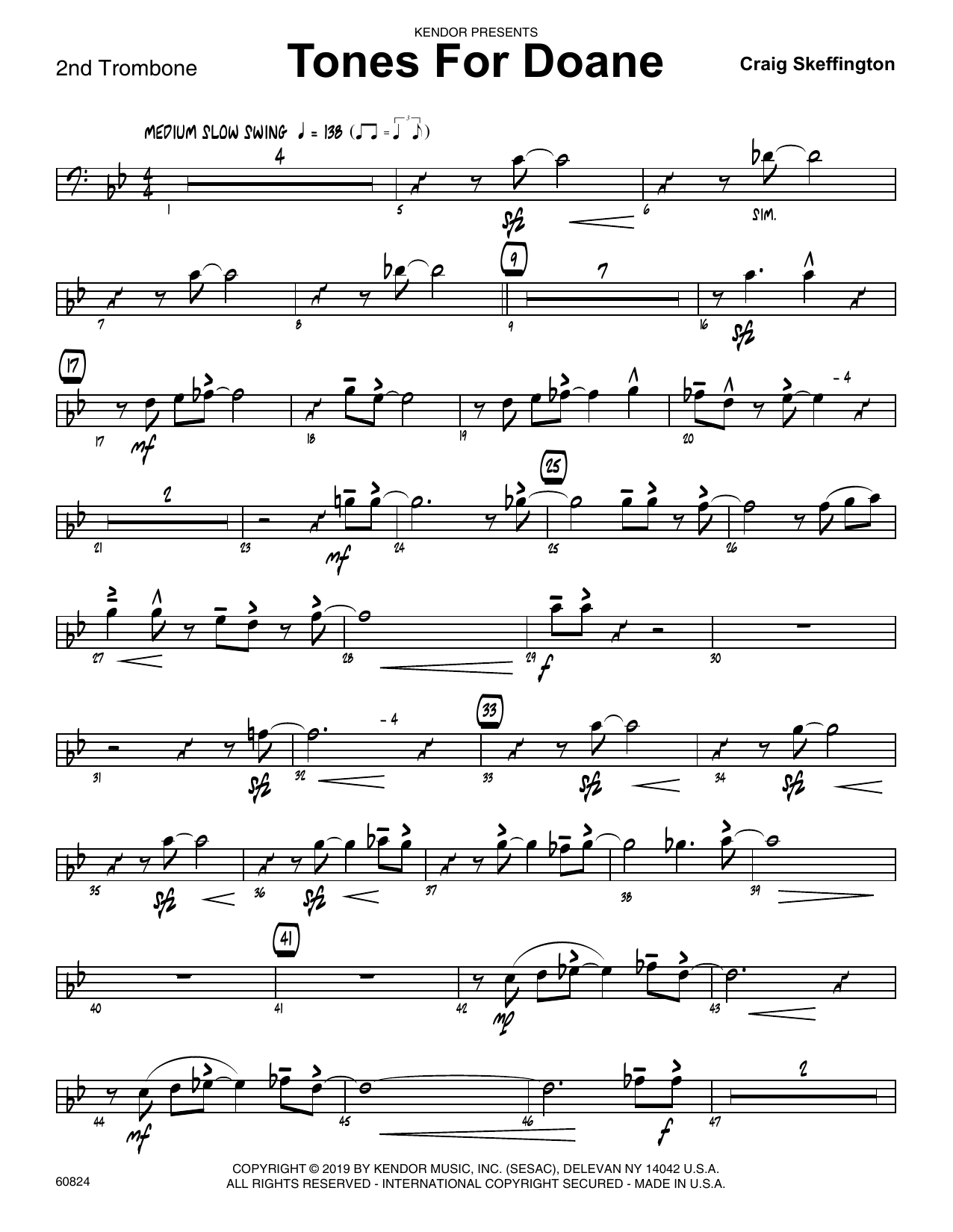 Craig Skeffington Tones For Doane - 2nd Trombone sheet music notes and chords. Download Printable PDF.