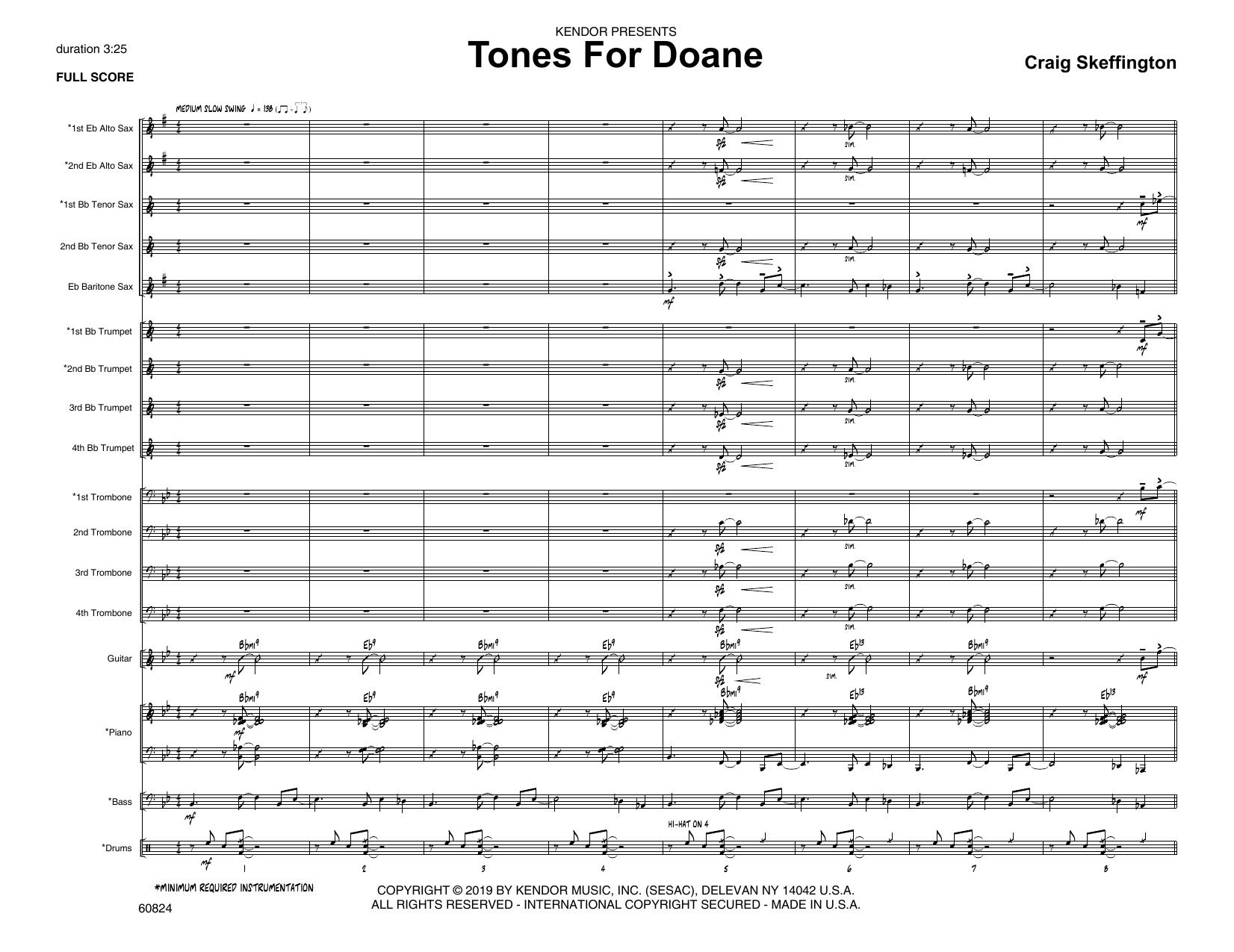 Craig Skeffington Tones For Doane - Full Score sheet music notes and chords. Download Printable PDF.