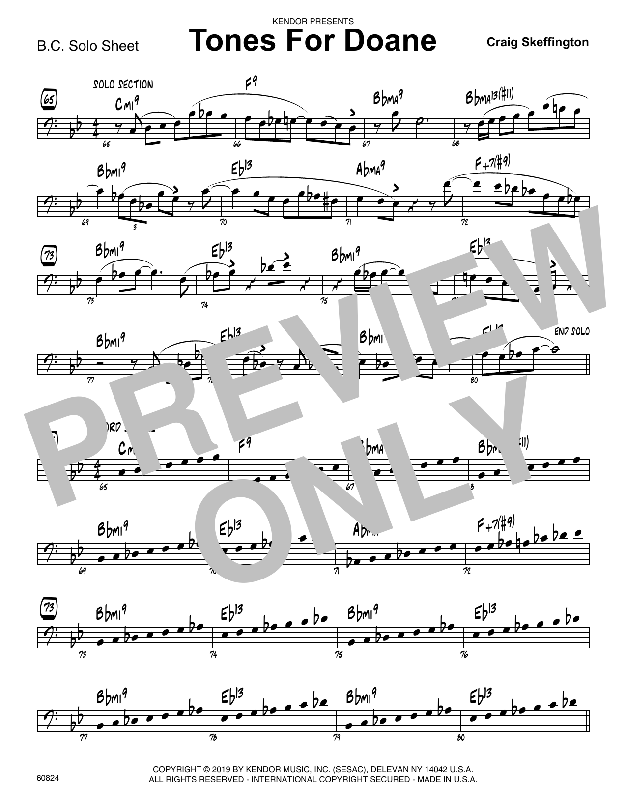 Craig Skeffington Tones For Doane - Sample Solo - Bass Clef Instr. sheet music notes and chords. Download Printable PDF.