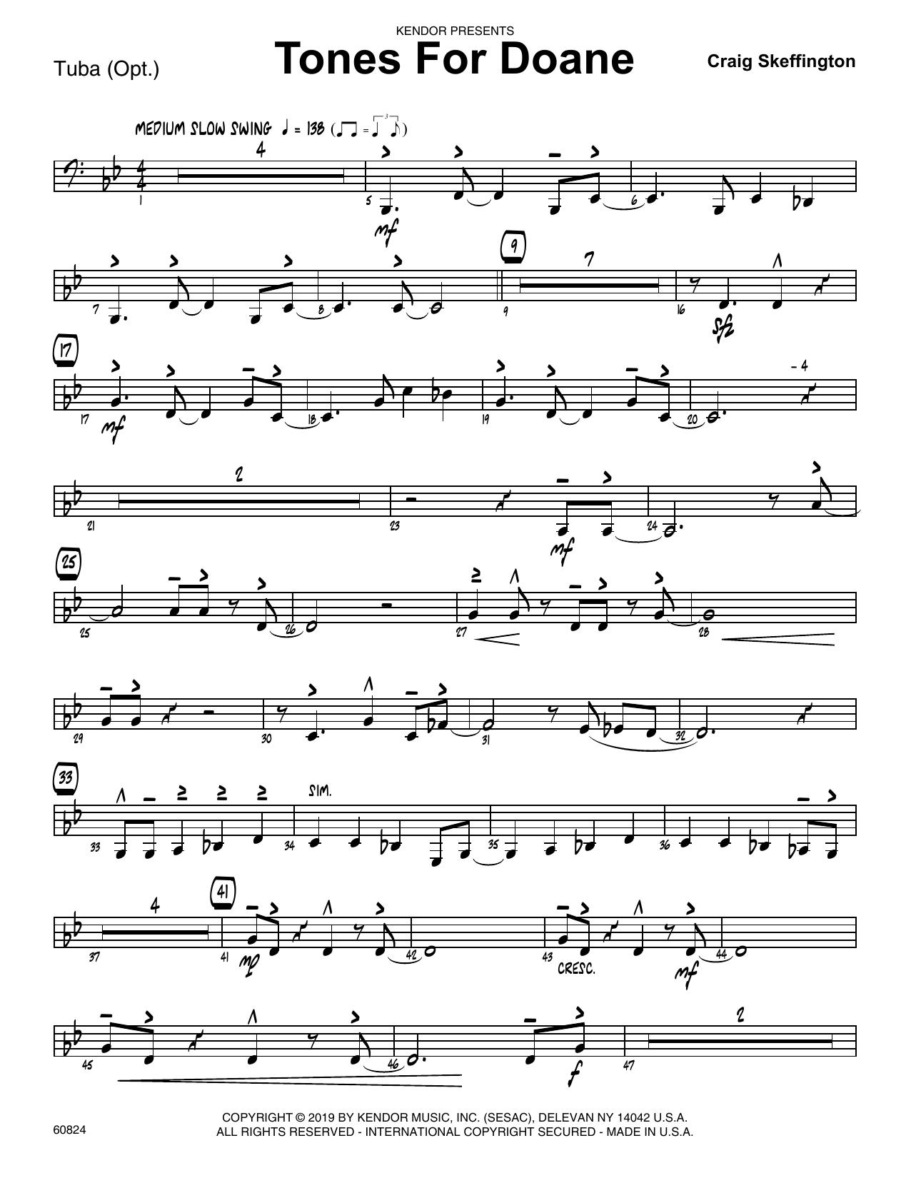 Craig Skeffington Tones For Doane - Tuba sheet music notes and chords. Download Printable PDF.