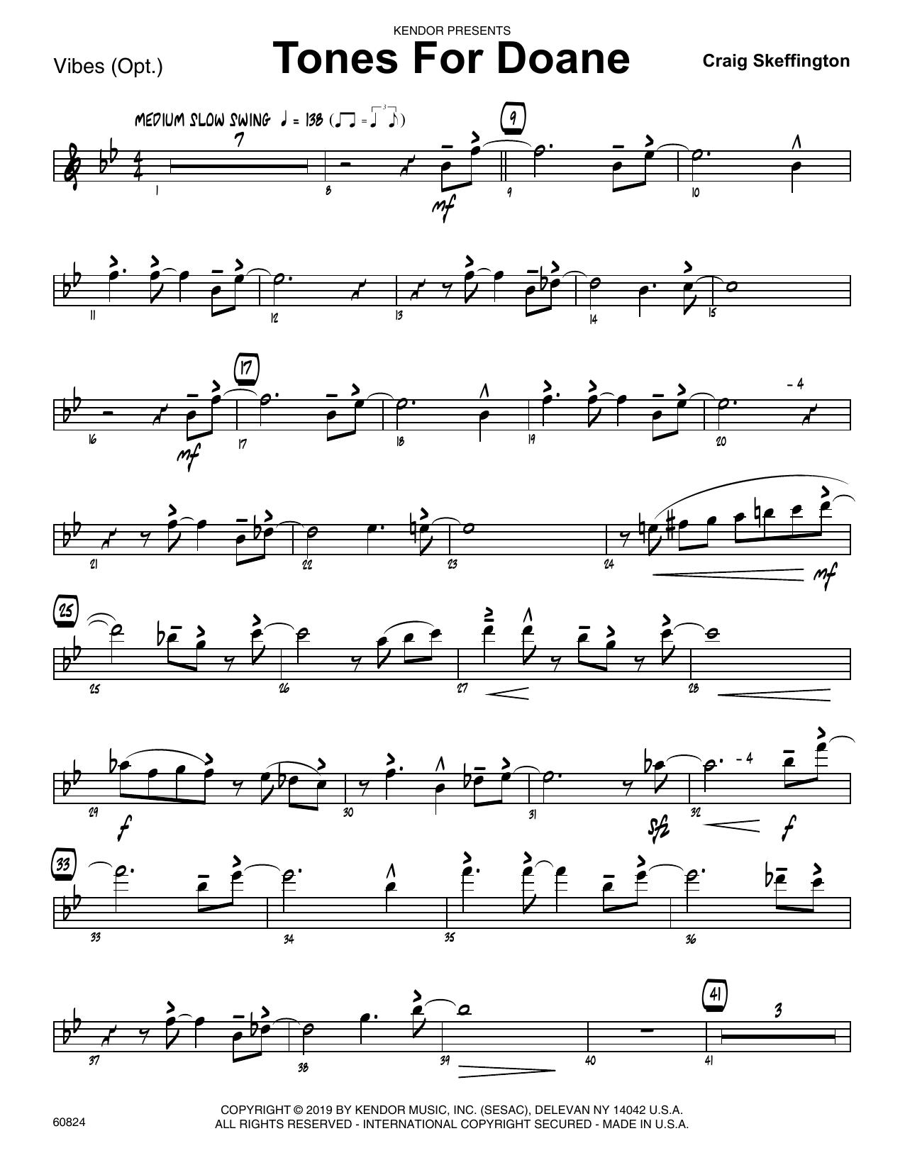 Craig Skeffington Tones For Doane - Vibes sheet music notes and chords. Download Printable PDF.