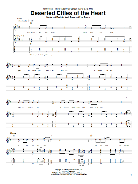 Cream Deserted Cities Of The Heart sheet music notes and chords. Download Printable PDF.