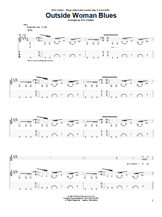 Cream Outside Woman Blues sheet music notes and chords. Download Printable PDF.